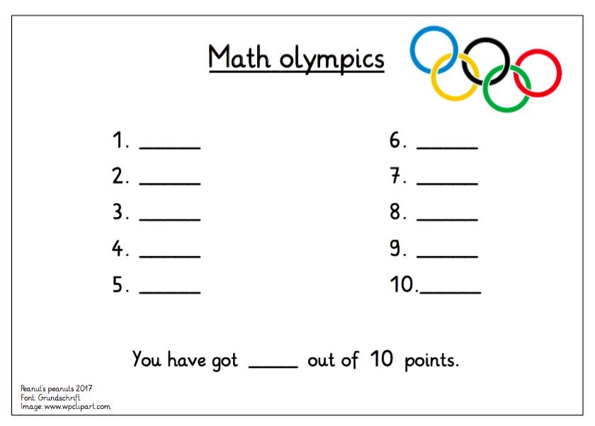 Math Olympics – Kopfrechenübung – Peanut\'s Peanuts